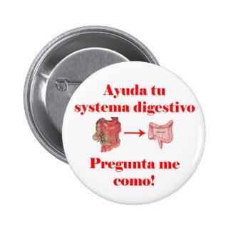 Botón del digestivo del systema de Ayuda tu Pin