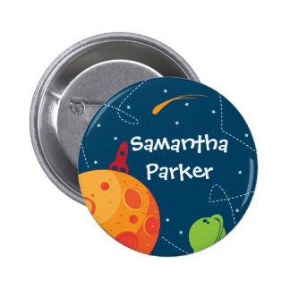 Botón del favor del cumpleaños del astronauta del