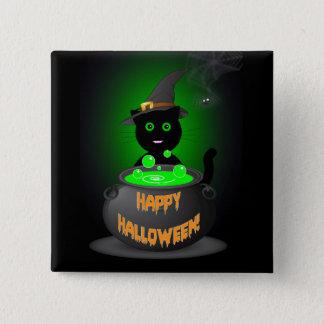 Botón del feliz Halloween con el gato negro lindo
