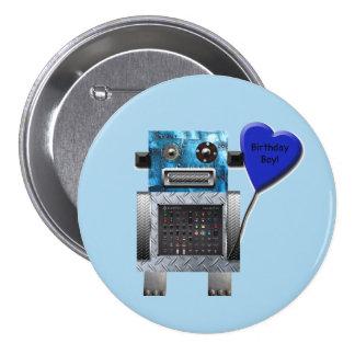 Botón del fiesta del robot del muchacho del