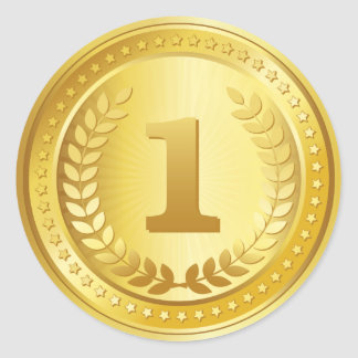 Botón del ganador del lugar de la medalla de oro pegatina redonda
