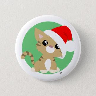 Botón del gatito del navidad del moreno