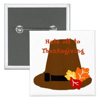 Botón del gorra de la acción de gracias