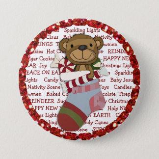 Botón del navidad con el oso de peluche en la