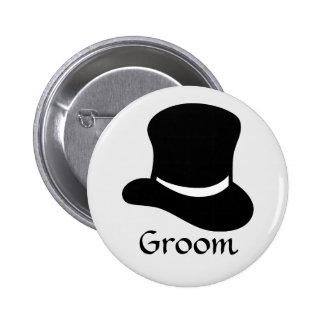 """Botón del """"novio"""" con el sombrero de copa pin"""