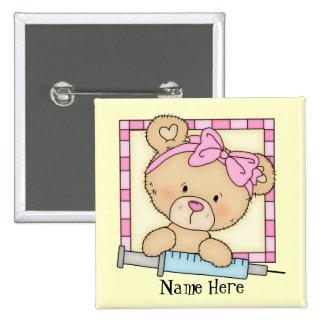 Botón del oso de la enfermera del dibujo animado