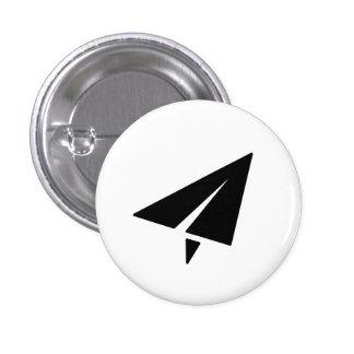 Botón del pictograma del aeroplano de papel pin