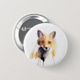 botón del pinback de la acuarela del zorro