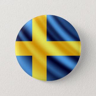 Botón del pinback de la bandera de Suecia que