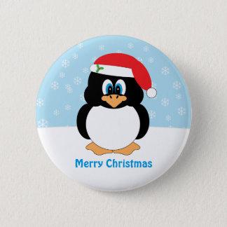 Botón del pingüino de las Felices Navidad
