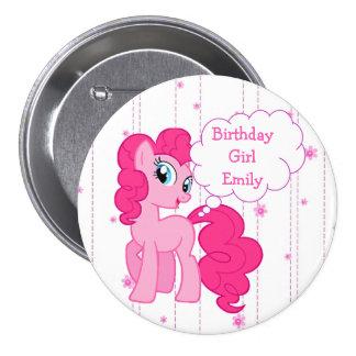 Botón del potro del rosa del chica del cumpleaños