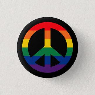 Botón del signo de la paz del arco iris del