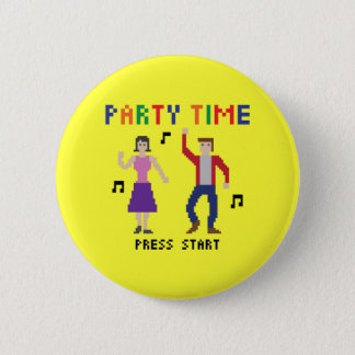 Botón del tiempo del fiesta del arte del pixel
