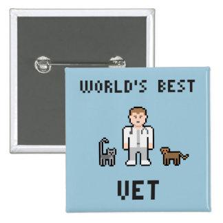 Botón del veterinario del mundo del pixel el mejor