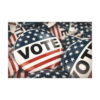 Botón del voto impresión en lienzo estirada
