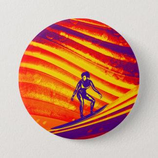 Botón, diseño abstracto de la puesta del sol chapa redonda de 7 cm