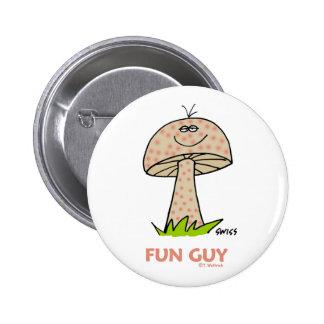Botón divertido del dibujo animado del individuo