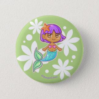 Botón dulce de Pinback de la sirena (púrpura)
