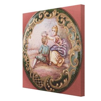 Botón esmaltado y de la cerda joven impresión en lienzo