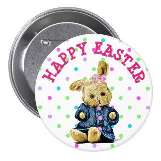 Botón feliz de Pascua del lunar del conejito del