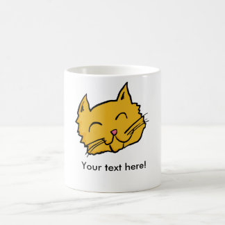 Botón feliz del gato taza de café