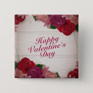 Botón feliz elegante del marco de los rosas del el