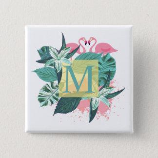 Botón floral tropical del Pin del monograma del