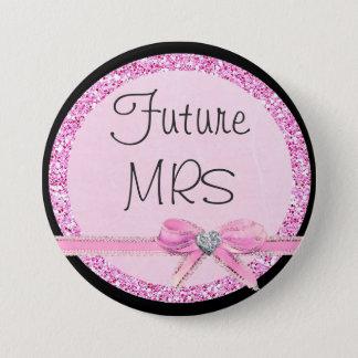 Botón futuro de señora Pink Bow Faux Glitter