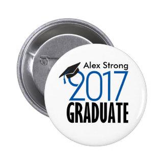 Botón graduado negro y del azul 2017 de Pinback