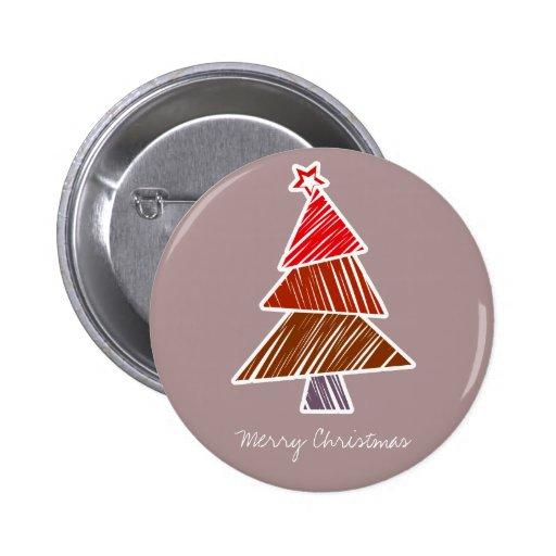 Botón incompleto rojo del árbol de navidad pin