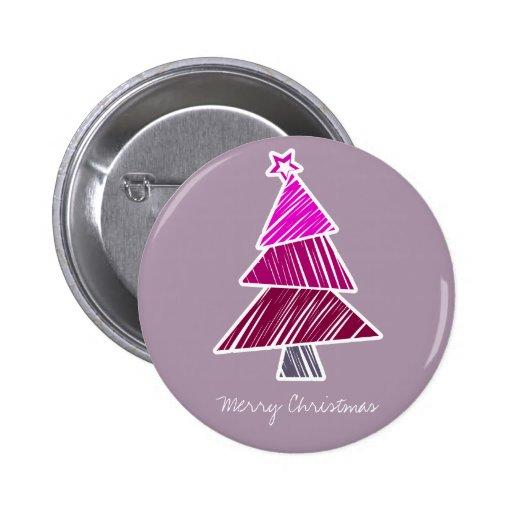Botón incompleto rosado del árbol de navidad pin