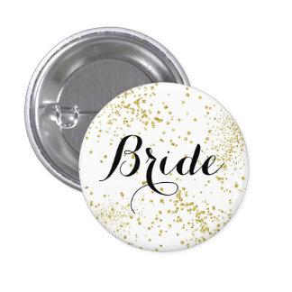 Botón lindo de la novia del brillo del oro