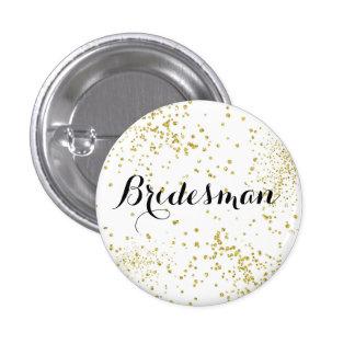 Botón lindo del padrino de boda del brillo del oro
