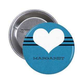 Botón moderno azul del corazón pin