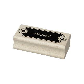 Botón moderno con negro de los anillos + su nombre sello de caucho