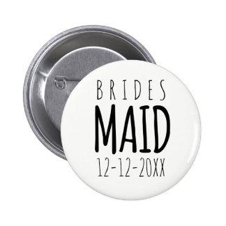 Botón moderno del Pin de la dama de honor con la
