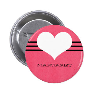Botón moderno rosado del corazón pins