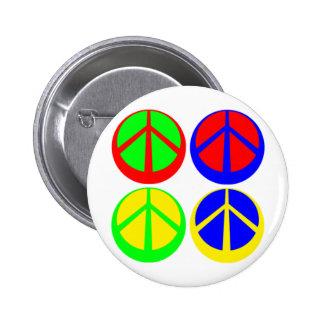 Botón multicolor de los signos de la paz