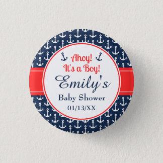 Botón náutico de la fiesta de bienvenida al bebé -