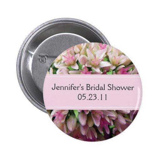 Botón nupcial de la ducha del ramo rosado pin