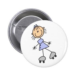 Botón patinador del chica del palillo