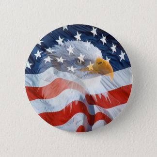 Botón patriótico de la bandera americana de Eagle