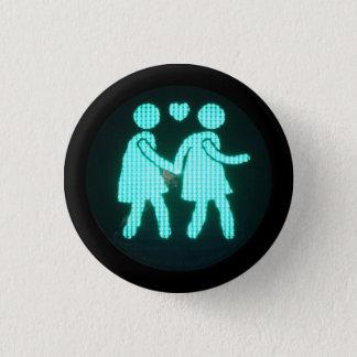 Chapa Redonda De 2,5 Cm Botón peatonal lesbiano de la señal