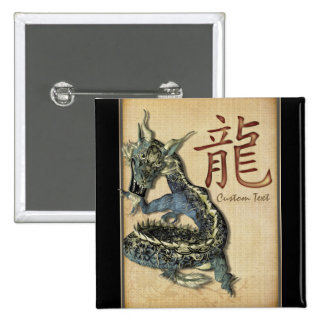 Botón personalizado dragón azul chino