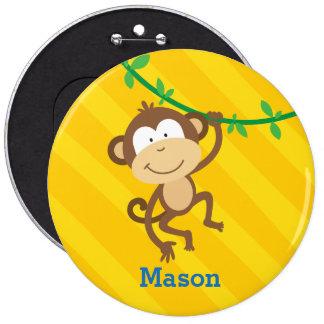 Botón personalizado mono divertido