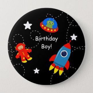 Botón personalizado negro del cumpleaños del