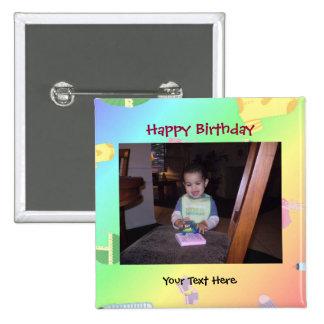 Botón/Pin de la foto del cumpleaños Chapa Cuadrada 5 Cm