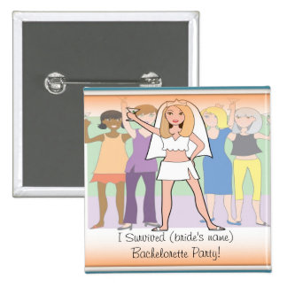¡Botón/Pin del fiesta de Bachelorette - sobreviví! Chapa Cuadrada 5 Cm