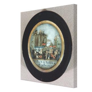 Botón que representa el asalto del Bastille Impresión En Lienzo