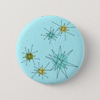 Botón redondo atómico azul de Starbursts del huevo